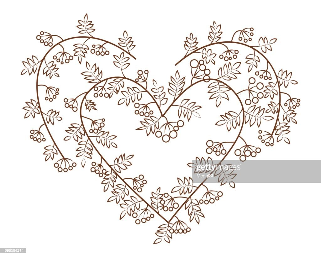 Rowanberry in heart shape vector illustration. Branches with leaves and berries.