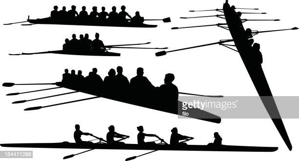 rowing silhouettes - sports team stock illustrations, clip art, cartoons, & icons