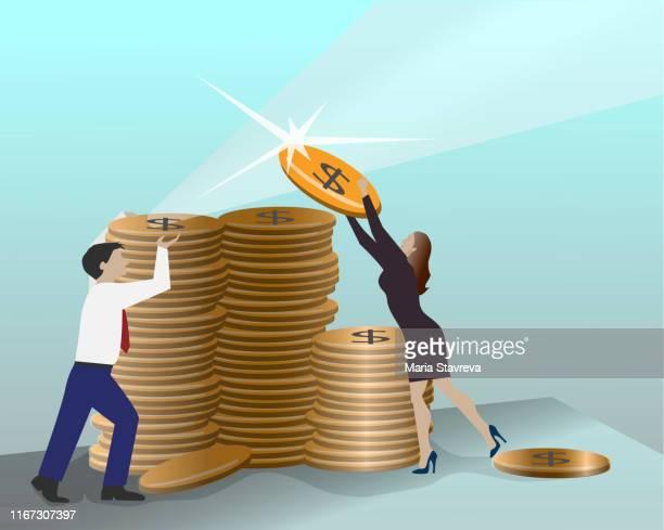 ilustraciones, imágenes clip art, dibujos animados e iconos de stock de filas de monedas de oro para finanzas. - doble exposicion negocios