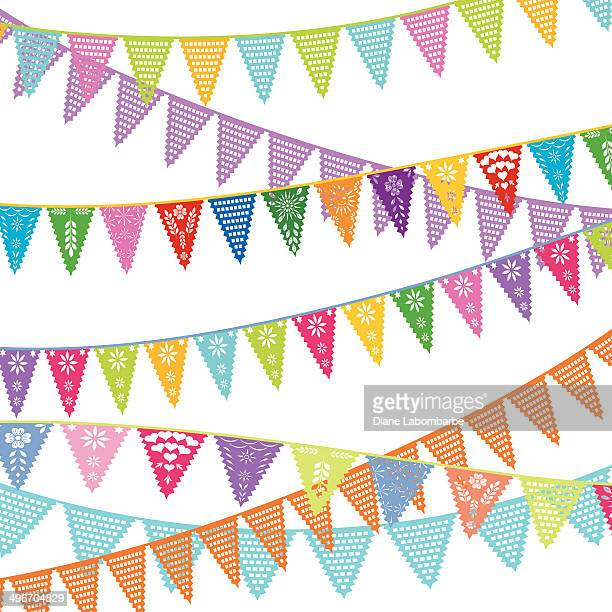 rows of papel picado bunting flags - cut or torn paper stock illustrations, clip art, cartoons, & icons