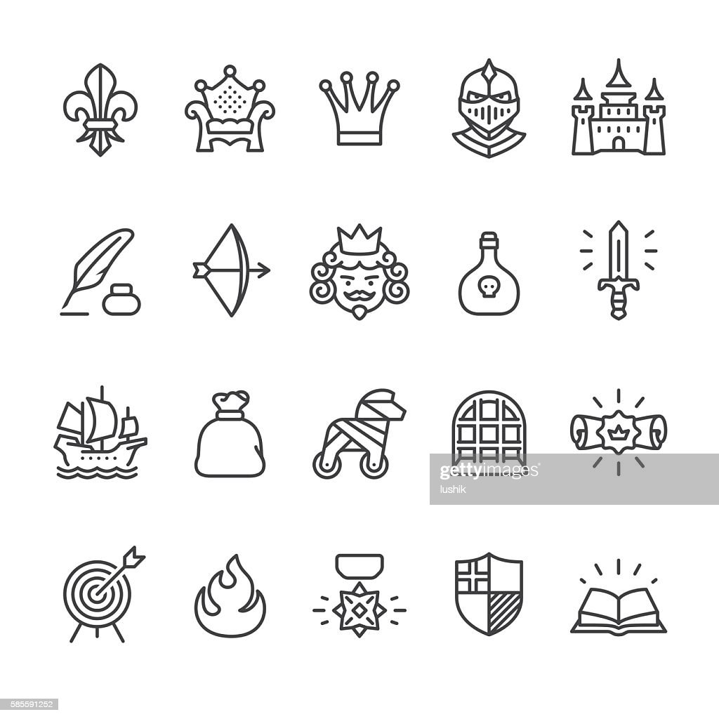 Royal and Medieval theme vector icons