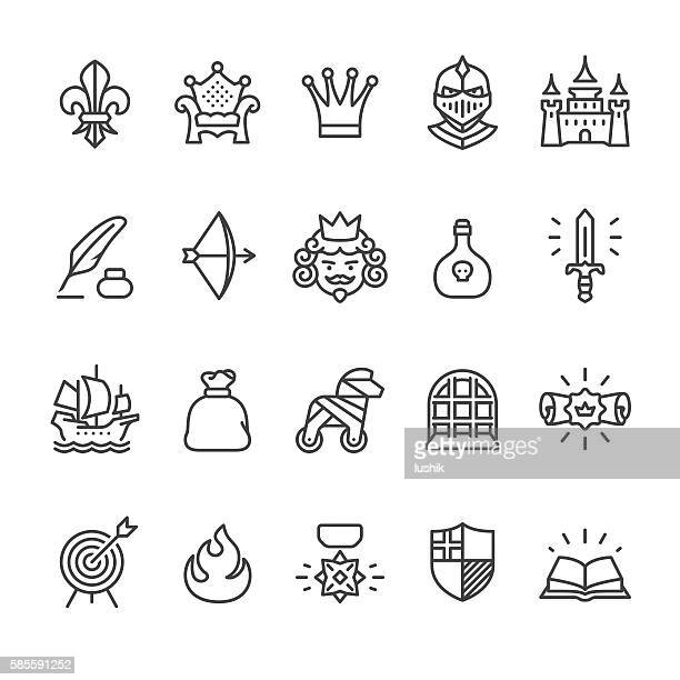 ilustraciones, imágenes clip art, dibujos animados e iconos de stock de royal and medieval theme vector icons - conspiracy
