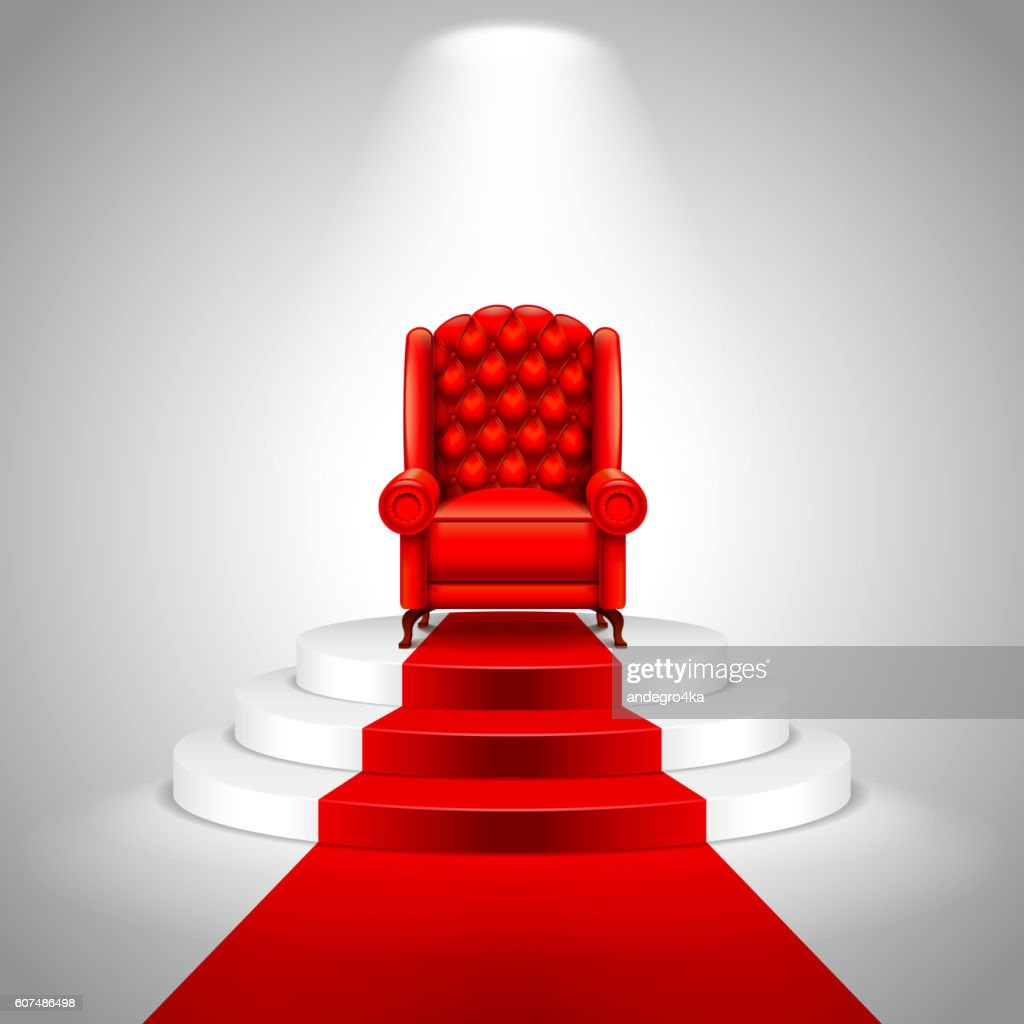 Royal armchair on stairs with red carpet