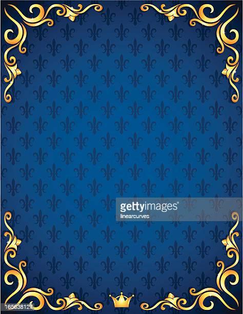 royal hintergrund mit goldenen verzierungen und krone - königshaus stock-grafiken, -clipart, -cartoons und -symbole