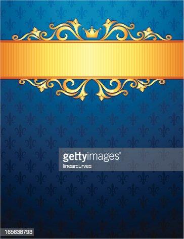royal background with golden ornaments blue fleur de lys