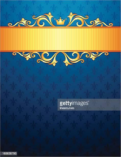 royal background with golden ornaments, blue fleur de lys pattern - royalty stock illustrations