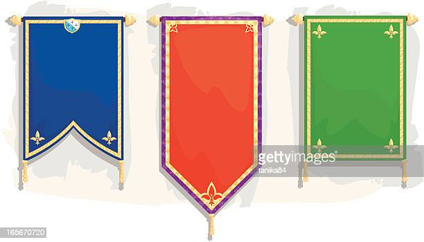 stockillustraties, clipart, cartoons en iconen met royal banners - koningschap