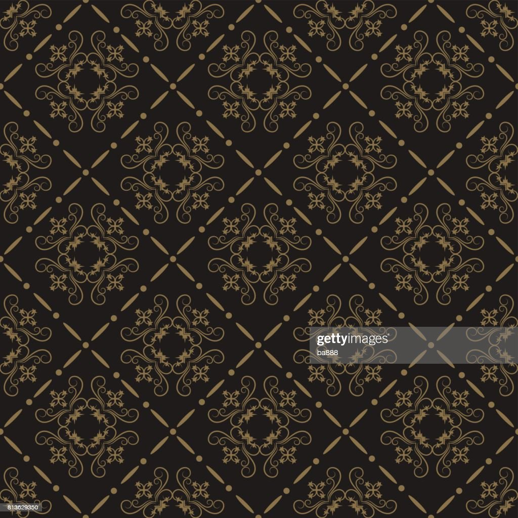 Royal black baroque seamless pattern
