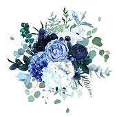 Royal blue, navy garden rose, white hydrangea flowers, anemone, thistle