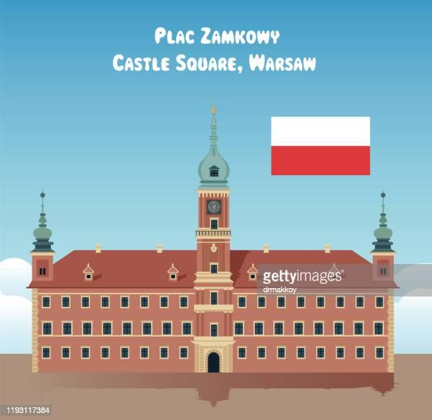 royal castle, plac zamkowy, castle square, warsaw, poland - palace stock illustrations