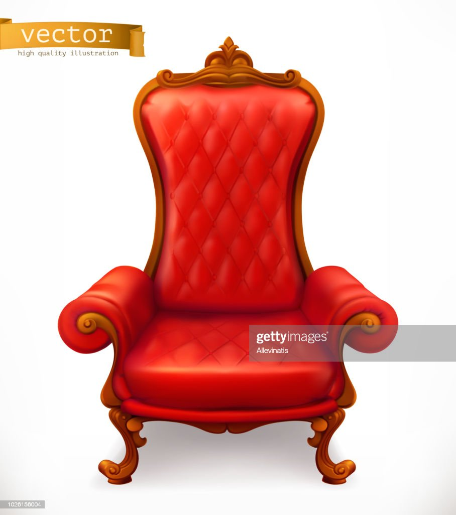 Royal chair. 3d vector icon