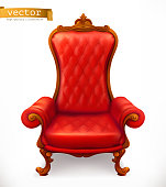 Royal chair. 3d vector icon