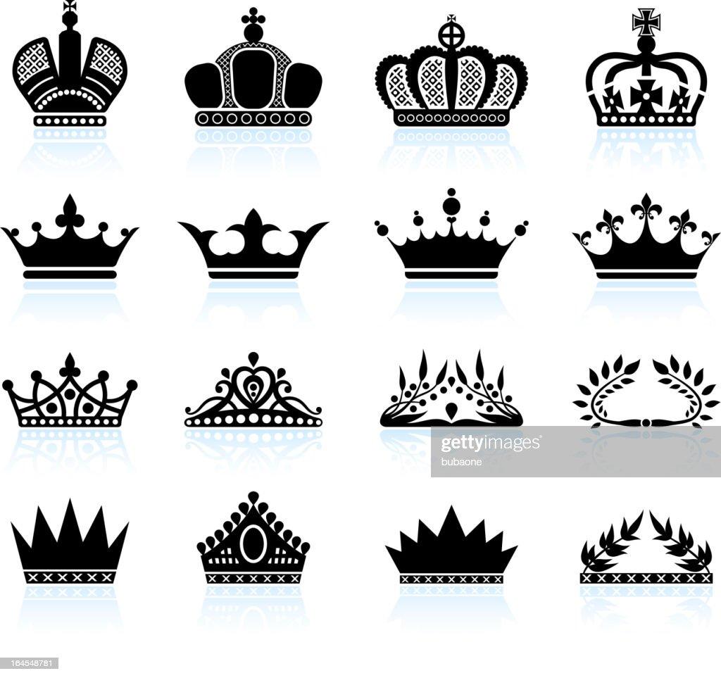 Royal crown and tiara royalty free vector icon set