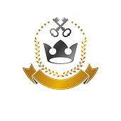 Royal Crown emblem. Heraldic Coat of Arms isolated vector illustration. Ancient icon in old style on white background.