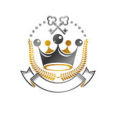 Royal Crown emblem. Heraldic Coat of Arms isolated vector illustration. Ancient sign in old style on white background.