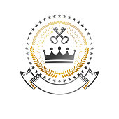 Royal Crown emblem. Heraldic Coat of Arms isolated vector illustration. Retro sign in old style on white background.