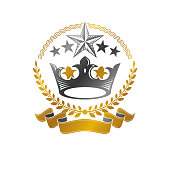 Royal Crown emblem. Heraldic Coat of Arms isolated vector illustration. Antique sign in old style on white background.