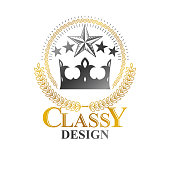 Royal Crown emblem. Heraldic Coat of Arms isolated vector illustration. Ornate sign in old style on white background.