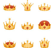 Royal crown head power 3d cartoon icons set isolated vector illustration