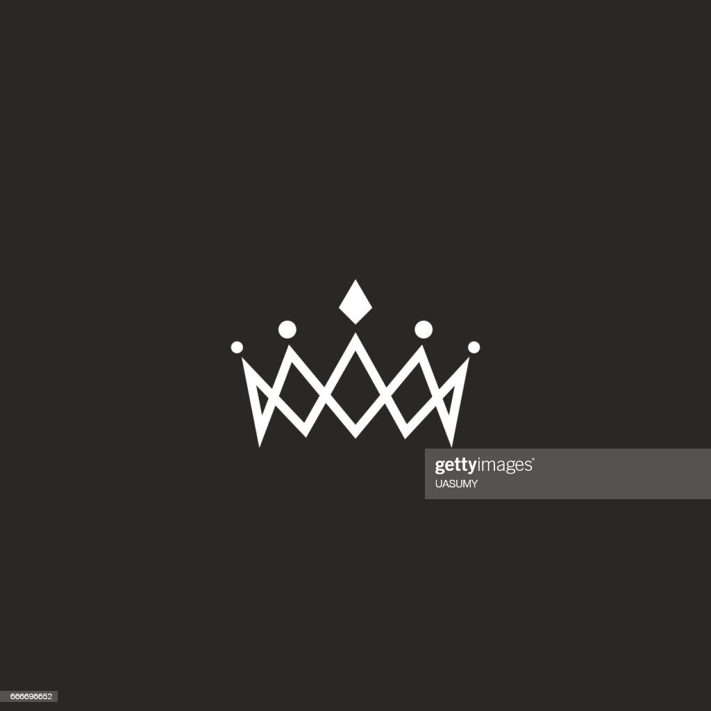 Royal crown icon mockup monogram, jewel tiara princess beauty symbol, thin line design element