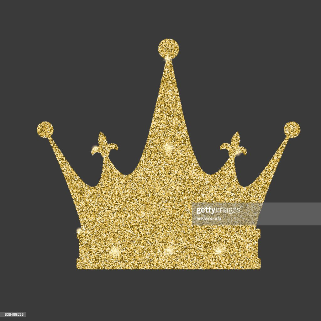 Royal Crown Icon With Glitter Effect Isolated On White Background