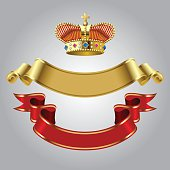 Royal crown with gold and red ribbons
