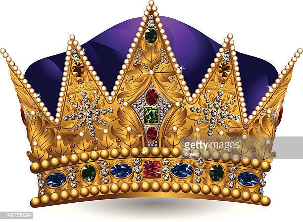 Royal crown with jewels and purple color