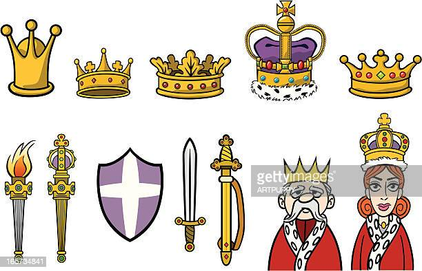 royal crowns and things - crown stock illustrations