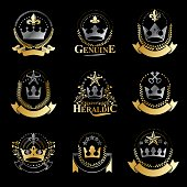 Royal Crowns emblems set. Heraldic Coat of Arms decorative icons isolated vector illustrations collection.