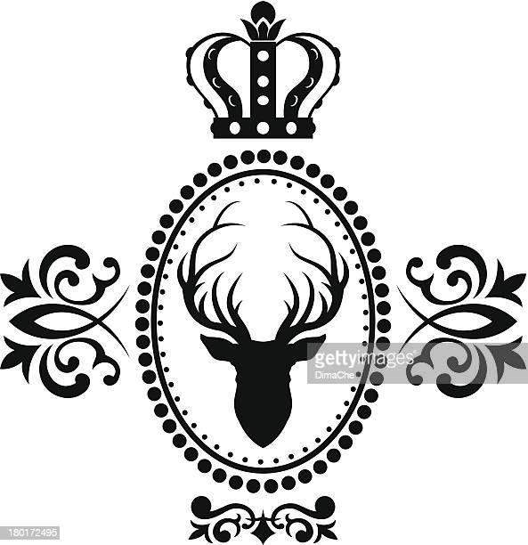 royal deer emblem - oval stock-grafiken, -clipart, -cartoons und -symbole