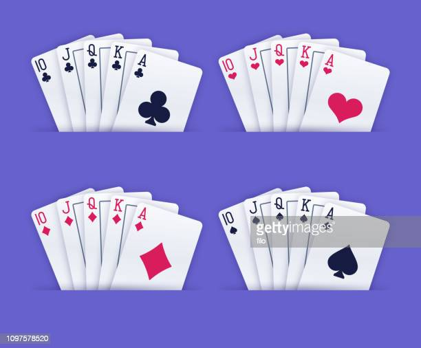 royal flush gambling playing cards - suit stock illustrations