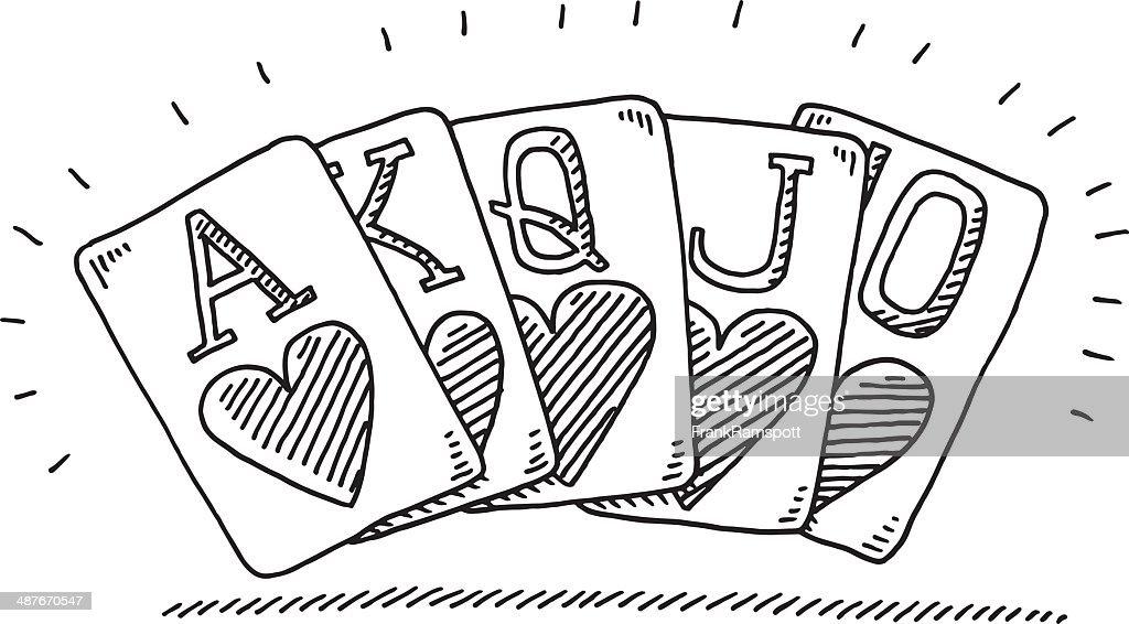Royal Flush Cards Drawing Vector Art
