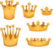 Royal Golden Crowns For Kings Or Game Ui