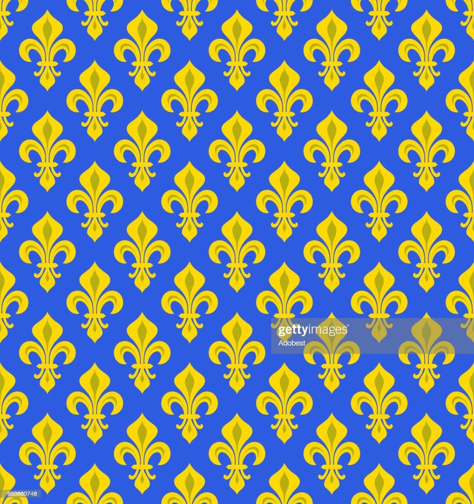 Royal Heraldic Lilies (Fleur-de-lys) — azure cerulean bleu, seamless velvet pattern, wallpaper background.