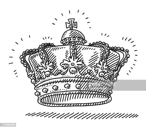 stockillustraties, clipart, cartoons en iconen met royal king's crown drawing - koning koninklijk persoon