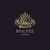 Royal liner monogram. Crown. Sign of king. Elegant design. Bright volumetric creative emblem for Royalty, business card, company name symbol, Hotel, Restaurant. 3d Web icon Vector illustration