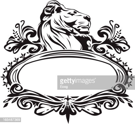 royal lion with fancy border vector art getty images