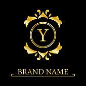 Royal monogram design. Luxury volumetric logo template. 3d line ornament. Emblem with letter Y for Business sign, badge, crest, label, Boutique brand, Hotel, Restaurant, Heraldic. Vector illustration