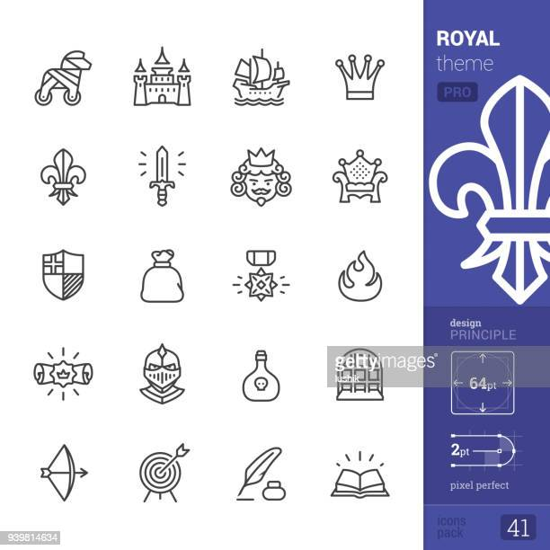 royal, umriss ikonen - pro-pack - ritter stock-grafiken, -clipart, -cartoons und -symbole