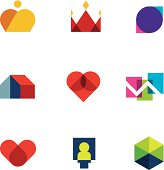 Royal shapes mosaic geometric logo peaces colorful vector icon set