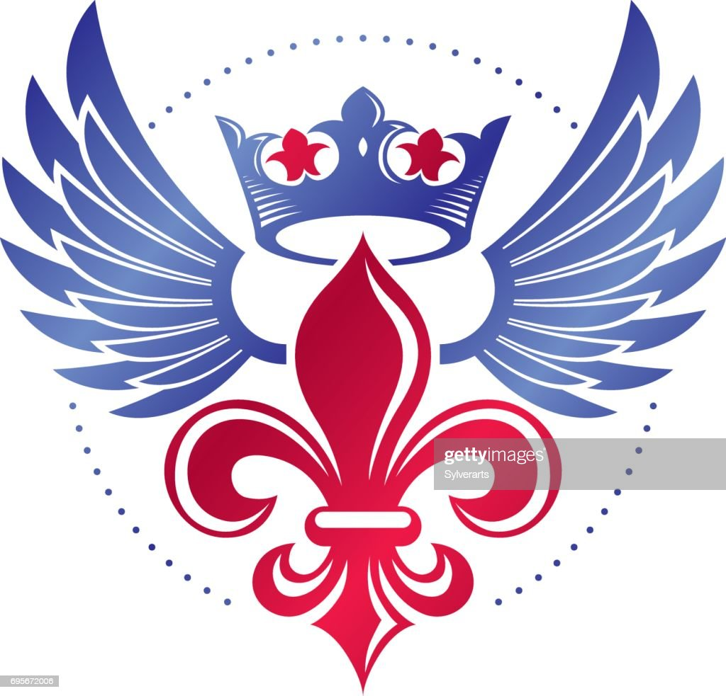 Royal symbol lily flower graphic emblem composed with king crown royal symbol lily flower graphic emblem composed with king crown heraldic vector design element retro style label heraldry izmirmasajfo