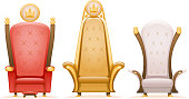 Royal throne king ruler fairytale armchair cartoon 3d isolated icons set vector illustration