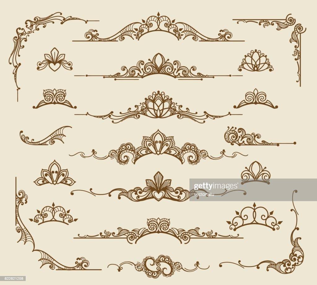 Royal victorian filigree design elements