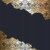 Royal, vintage, Gothic background in gold and black
