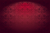 Royal, vintage, Gothic horizontal background in red with a classic Baroque pattern, Rococo
