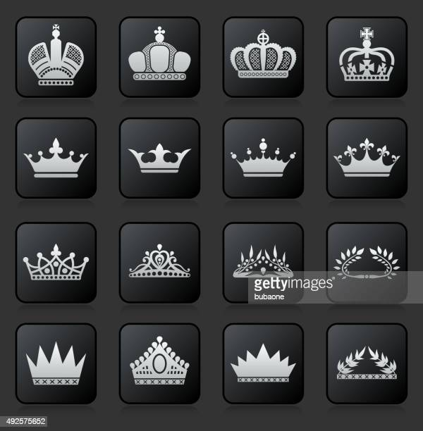 royalty crowns  icon set on black background - tiara stock illustrations, clip art, cartoons, & icons