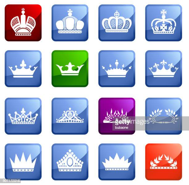 royalty crowns  icon set on white background. - tiara stock illustrations, clip art, cartoons, & icons