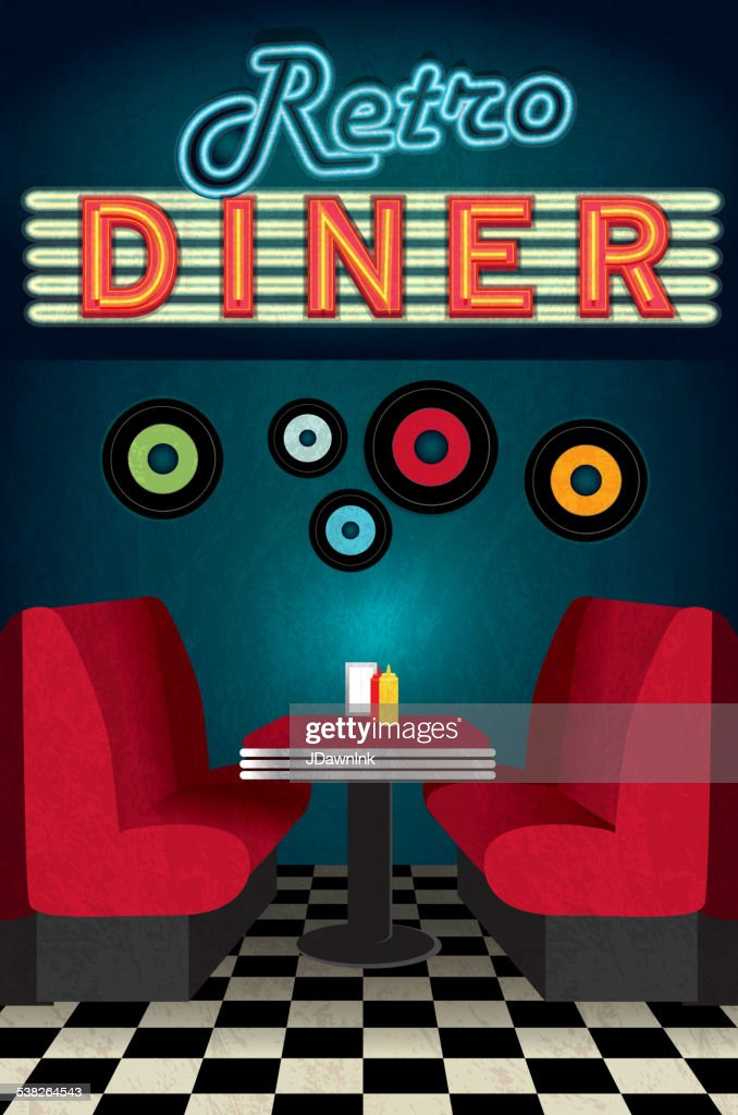 Royalty free Late night retro 50s Diner scene neon sign
