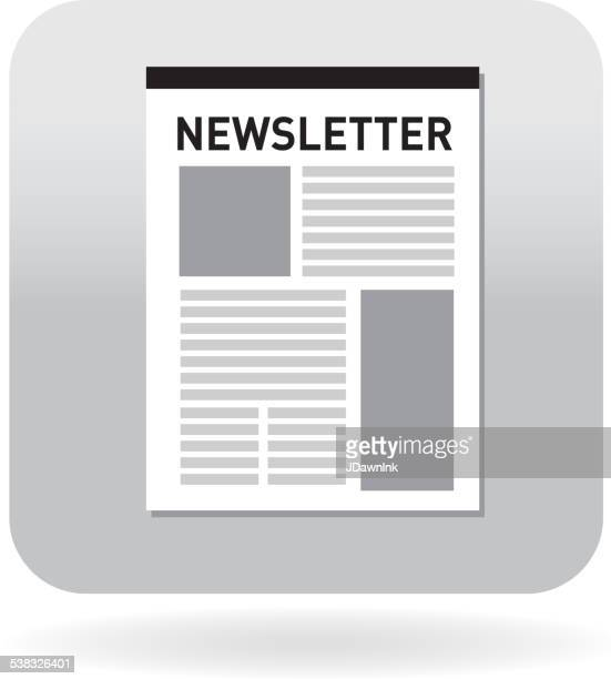 royalty free newsletter on a page document icon with ribbon - newsletter stock illustrations