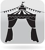 Royalty free open Carnival tent bunting flags icon in grey